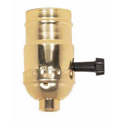 Brass Light Socket - Plated - 3-Terminal - 2 Circuit - Turn Knob - Medium Base Socket - 1/8 IPS - PLT 90-421