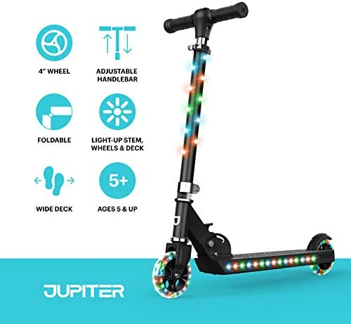 for Kids Ages 5+,LED Light-Up Jetson Jupiter Folding Kick Scooter