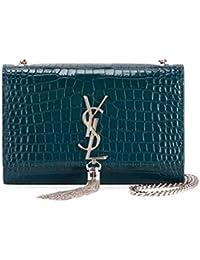Saint Laurent Kate Monogram YSL Small Tassel Croco Shoulder Bag ... 218d4c9855