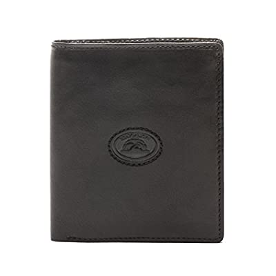 CUSTOM PERSONALIZED INITIALS ENGRAVING Tony Perotti Mens Italian Cow Leather Vertical Passcase Wallet in Black