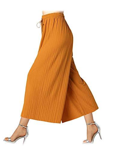 Design by Olivia Women's Elastic Waist Chiffon Loose Pleated Wide Leg Palazzo Overlay Capri Mustard ONE