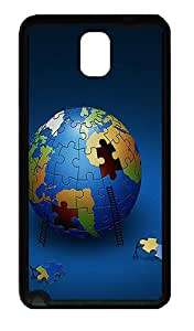 Large Earth Puzzle Custom Samsung Galaxy Note 3 TPU Case and Cover - Black