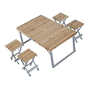 Outsunny Height Adjustable Folding Outdoor Picnic Table w/ 4 Seats - Natural Wood and Silver