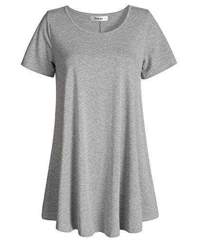 Esenchel Women's Tunic Top Casual T Shirt for Leggings S Heather Gray ()