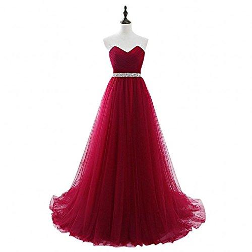 La Dunkel Quincenera Braut Ballkleider Abiballkleider Schulterfrei Rot Herzausschnitt Abendkleider Lang Marie 1rgw71