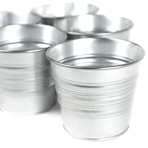 Galvanized Metal Bucket Planters Flower Pots for Porch Patio Deck or Backyard Set of 15 in Silver (Tin Pots Planter)