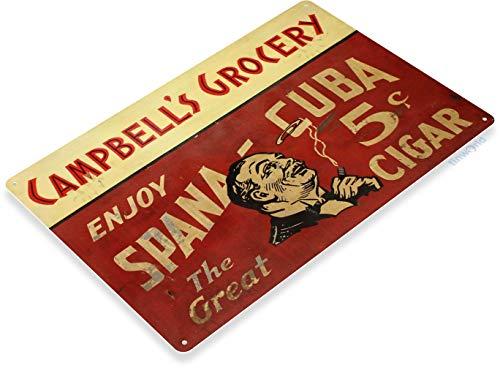 Tinworld Tin Sign Spana Cuba Cigar Retro Rustic Metal Sign Decor Cigar Bar Metal Sign Decor Tobacco Smoke Shop B527 -