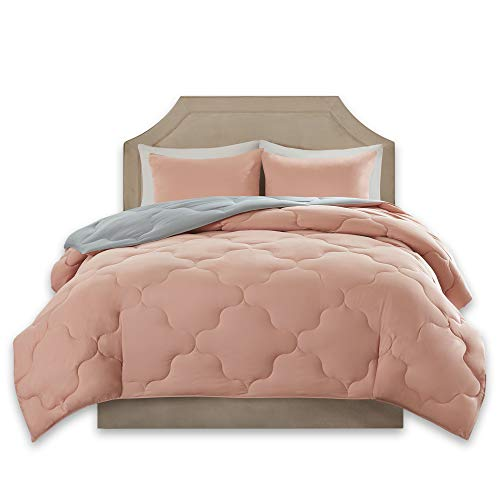 Full Bed Set - Comfort Spaces – Vixie Reversible Goose Down Alternative Comforter Mini Set - 3 Piece – All Season – Coral and Grey – Full/Queen Size, Includes 1 Comforter, 2 Shams
