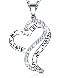 """♥Sis Birthday Gift♥ Ado Glo """"Always My Sister Forever My Friend"""" Love Heart Pendant Necklace - Fashion Jewelry for Women and Girls - Valentines Mothers Day Present for Her, Best Friends"""