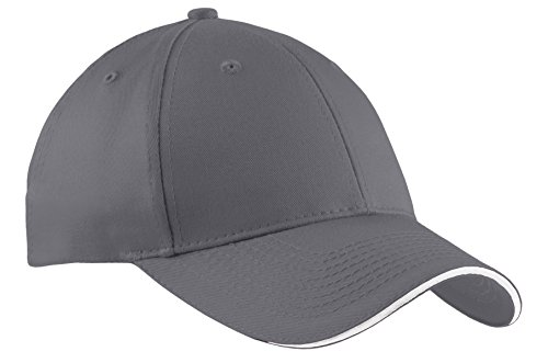 (Port & Company Unisex-adult Sandwich Bill Cap CP85 -Charcoal/ Wh OSFA )