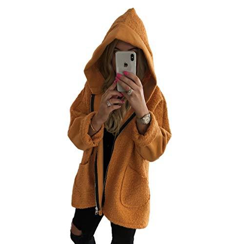 Tallas Outwear De Mujeres Larga Cálida Hoodie Con Tops Manga Cremallera Capucha Moda Abrigo C Grandes Naranja Invierno Sudadera vdg6S