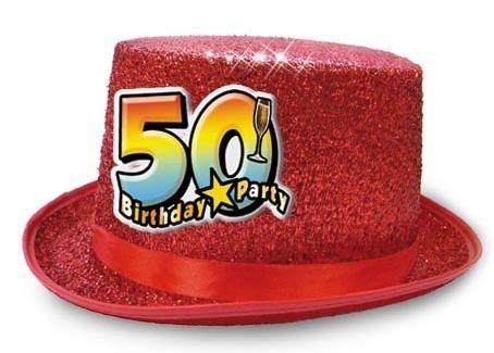 Cappello CILINDRO 50 ANNI glitter - Buon Compleanno - colori assortiti -  invio del colore casuale 9cd67c825c46