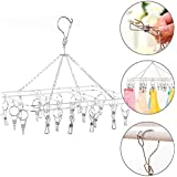 Kurtzy Drying Hanger Rack Square Stainless Steel with Clips Hooks Pegs for Undergarments Socks Ties Baby Clothes 38X30X20CM (20 Pegs)