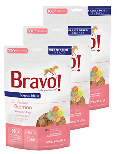 Bravo! Bonus Bites Dog Treats Freeze Dried Salmon - All Natural - Grain Free - 2 oz 3 Pack ()