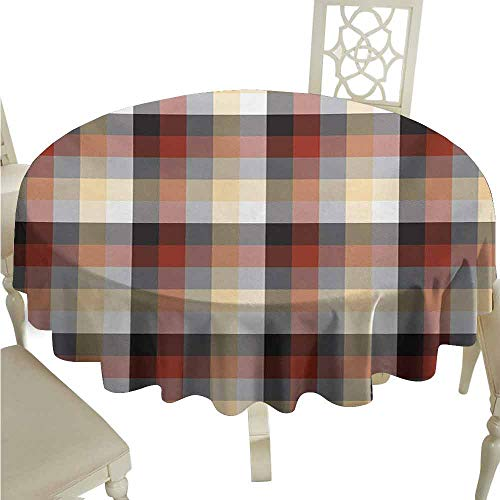 duommhome Plaid Oil-Proof Tablecloth Checkered Squares Pattern with Colorful Quilt Design Abstract Geometric Arrangement Easy Care D67 Multicolor