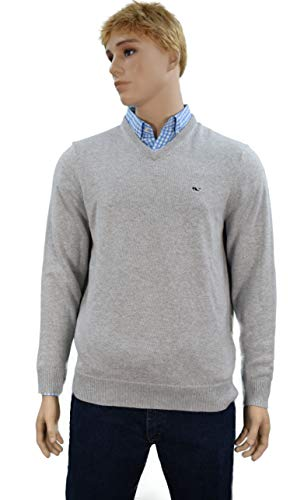 Vineyard Vines Men's Sweater 1/4 Zip (Large, V-Neck Cashmere/Light Heather Gray)