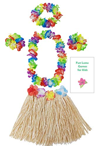 Kids Grass Hula Skirt for Luau 5 Piece Set with Flower lei Necklace Bracelets Headpiece + Fun Games (Natural) -