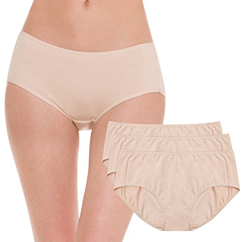 Hesta Women's Organic Cotton Period Menstrual Sanitary Protective Underwear Panties/3Pack (Large, 3Natural)