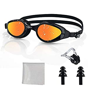 PHELRENA Swim Goggles, 2019 Electroplated Swimming Goggles, Anti Fog,No Leaking,UV Protection,Shatter-Proof, Clear Wide…