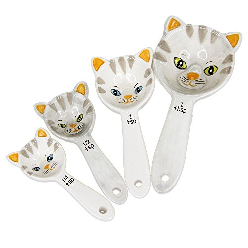 Pacific Giftware Loveable Kittens Cat Ceramic Measuring Spoons Set of 4 Creative Functional Kitchen Decor