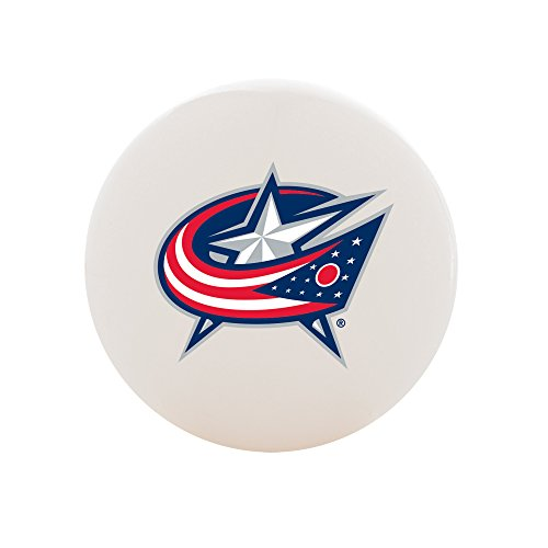(Franklin Sports Columbus Blue Jackets Street Hockey Ball - White No Bounce High Density PVC Ball w/Team Logo - NHL Official Licensed Product)