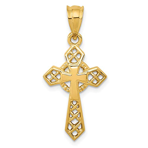 (14k Yellow Gold Celtic Passion Cross Pendant with Second Inset Cross)