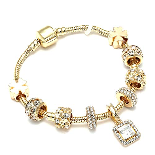 (Fashion Luxury Crystal Heart Gold Color Charm Bracelet for Girl Murano Glass Beads Brand Bracelet for Women DIY Jewelry Gift)