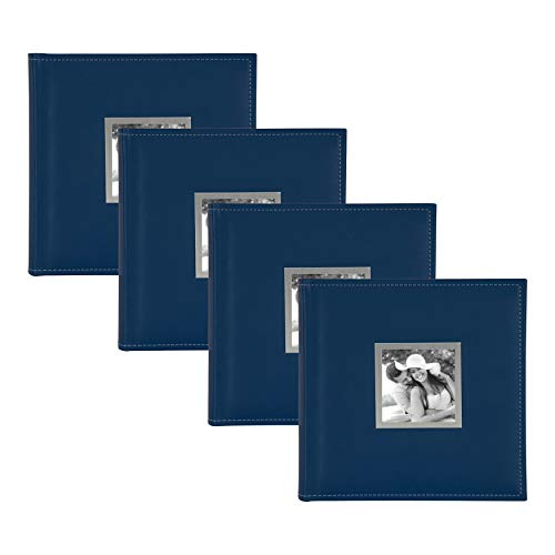 DesignOvation Sleek Faux Leather Navy Blue Photo Album, Holds 100 5x7 or 200 4x6 Photos, Set of 4