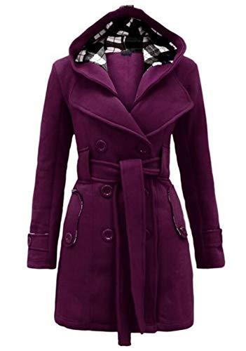 Jacket Check Button Fashion Hooded Women Down Coats MU2M Purple Belted qR6YnF
