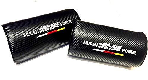 無限 Mugen Logo Emblem 3D Black Soft Carbon Fiber Weave CF Neck Pillow Foam Cushion Pad Head Support Neck Rest Car Headrest, Fits All Mugen-Power Motorsports Turbo Honda Acura Models