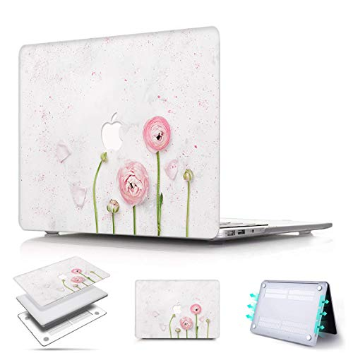 PapyHall Newest Protection Case Only Compatible 2018 Release MacBook Air 13 inch with Retina Display Touch ID Model: A1932 Colorful Pattern Plastic Hard Shell Cover - Rosebud