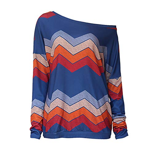 (KASAAS Blouses for Women One Shoulder Long Sleeve Tunic Geometric Patchwork Casual Fashion Sweatshirt Pullover Tops(16,Blue))