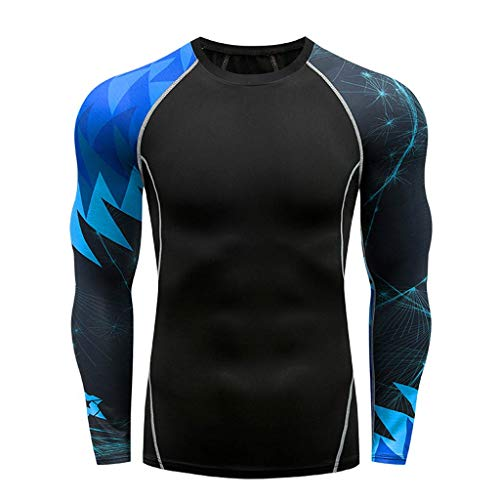 Men's Athletic Compression Shirt Dry Fit Sport Running Long Sleeve T Shirt ComfortSoft Workout Muscle Tops ()