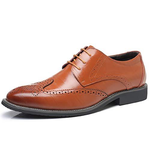 Nero LILY999 Brogue Basse Stringate Giallo Marrone Elegante Scarpe Derby Uomo Blu Vintage Oxford xH4xqw