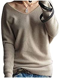 Liny Xin Women's Loose Batwing Sleeve Big V-Neck Pullover...