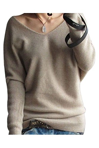 Liny Xin Women's Loose Batwing Sleeve Big V-Neck Pullover Cashmere Wool Sweater(Tan,L)