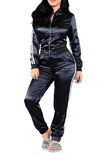 (Womens Tracksuit Zip-Up Jacket and Pants Sports Joggers Jog Set 2 Piece Navy XL)
