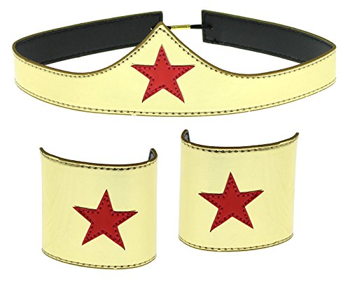 Wonder Woman Cuff and Tiara Adult Cosplay Costume Set Gold -