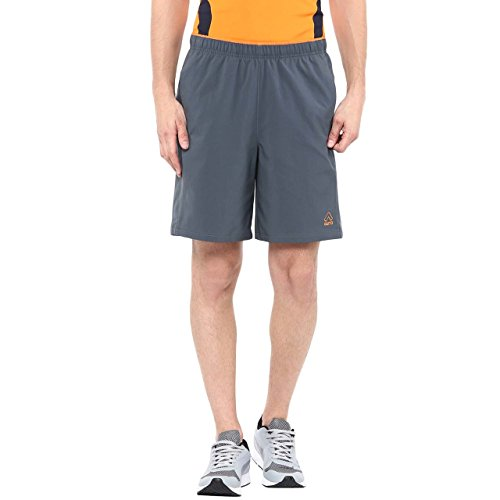 Aurro Sports Mid Grey/Orange Stretch Shorts (Size:- M)