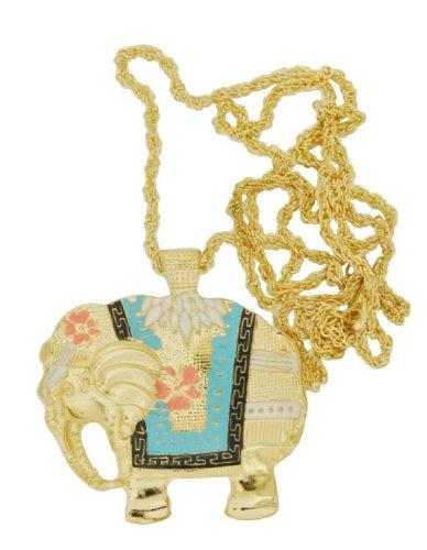 Cloisonne Enamel Long Elephant Necklace, Large Pendant Elephant Necklace,#18