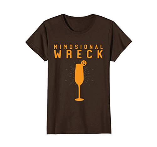 Womens Mimosional Wreck Shirt Women's Funny Wine Tees Mimosa Brunch Large - Couch Glasses