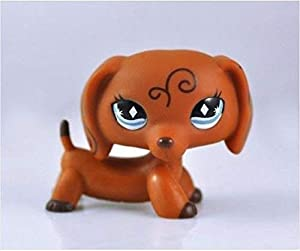 BBR LPS Brown Dachshund Dog with Diamond Blue Eyes Child Girl Boy Figure Toy Loose Cute Brand #640