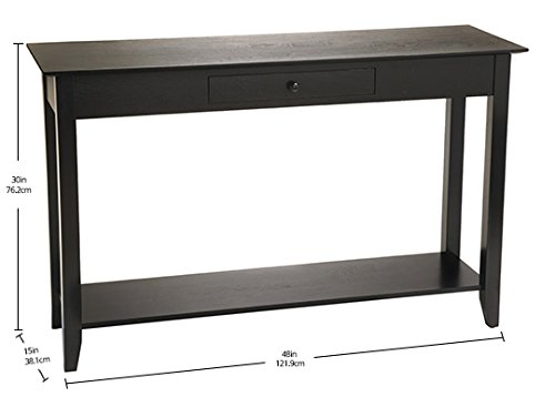 Convenience Concepts American Heritage Console Table with Drawer and Shelf, Black by Convenience Concepts (Image #5)
