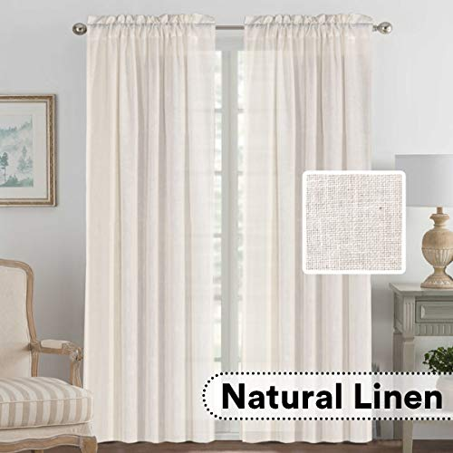 (H.VERSAILTEX 2 Panels Ultra Luxurious Natural Linen Blended Light Filtering Curtains Breathable and Airy Window Treatment Drapes with Rod Pocket Top for Bedroom, Extra Long 108 - Inch, Natural )