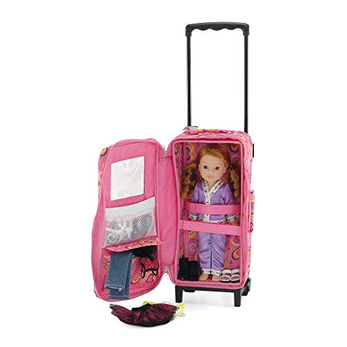14 15 Inch Doll Accessories Doll Travel Carrier Backpack Case With Heavy Duty Trolley Storage Pockets And Removable Baby Doll Bed Fits