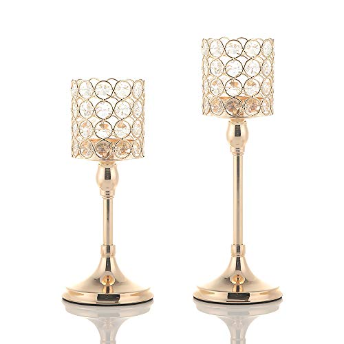VINCIGANT Set of 2 Crystal Gold Candlesticks for Mother's Day Anniversary Wedding Coffee Table Decorative Centerpiece