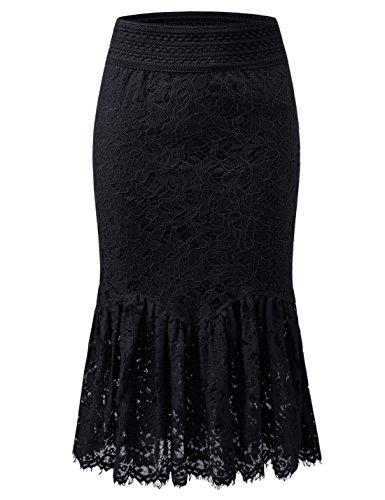 NEARKIN (NKNKWLSK747) Womens Elegance Banding Waist Oriental Iris-Patterned Midi Skirt BLACK US L(Tag size XL)