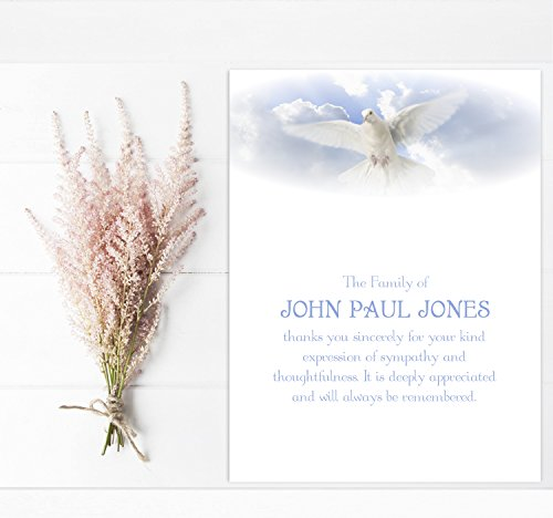 Sympathy Acknowledgement Cards, Funeral Thank You and Bereavement Notes Personalized White Dove (White Sympathy Note)