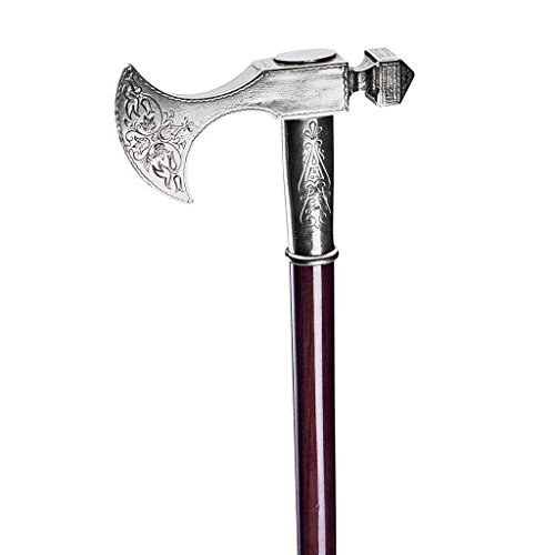 Design Toscano Bavarian Walking Stick, 35 Inch, Pewter Handle and Hardwood Cane, Silver (Cane Hidden Blade)
