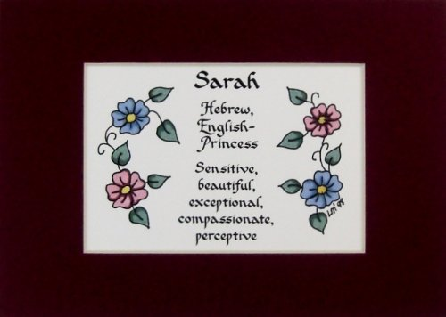 McDarlins Calligraphy Personalized Girl Name Meaning Sarah Wall Picture Keepsake Gift Made in The USA